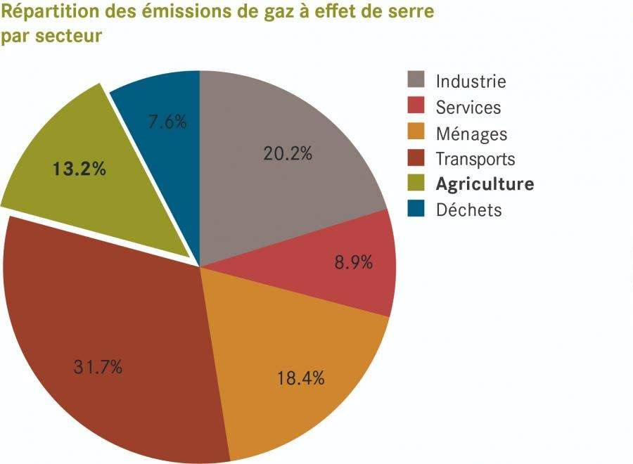 Part de l'agriculture dans les émissions de gaz à effet de serre en Suisse (OFEV, 2019)