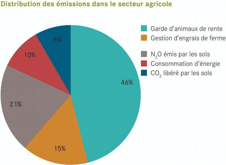 Répartition des émissions de gaz à effet de serre dans le secteur agricole en Suisse (OFEV, 2019)